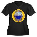 USS HULL Women's Plus Size V-Neck Dark T-Shirt