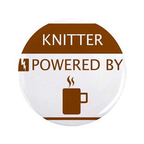 "Knitter Powered by Coffee 3.5"" Button"