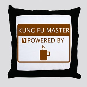 Kung Fu Master Powered by Coffee Throw Pillow