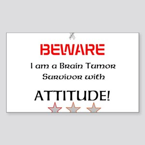 Brain Tumor Survivor with Attitude Sticker (Rectan