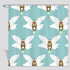 Sock Monkey Guardian Angel Shower Curtain