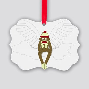 Sock Monkey Guardian Angel Picture Ornament