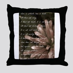 Love Is Patient BW Throw Pillow