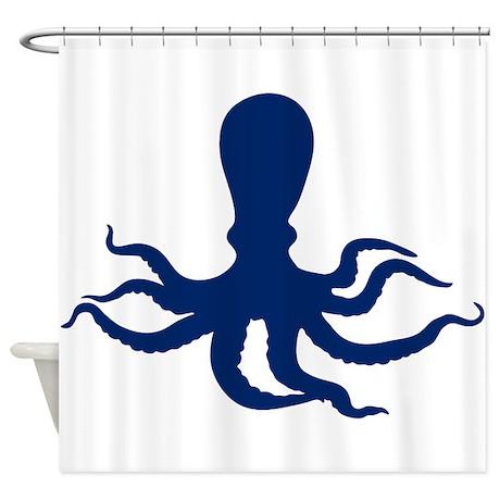 dark blue octopus shower curtain by tartanphoenix. Black Bedroom Furniture Sets. Home Design Ideas