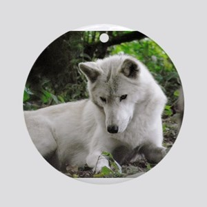 White Wolf (Curious) Ornament (Round)