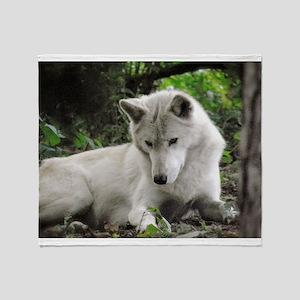 White Wolf (Curious) Throw Blanket