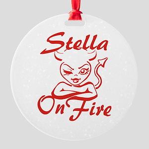 Stella On Fire Round Ornament