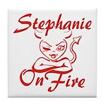 Stephanie On Fire Tile Coaster