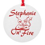 Stephanie On Fire Round Ornament