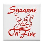 Suzanne On Fire Tile Coaster