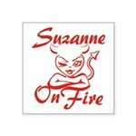 Suzanne On Fire Square Sticker 3