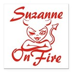 Suzanne On Fire Square Car Magnet 3