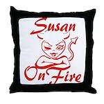 Susan On Fire Throw Pillow