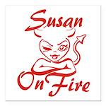 Susan On Fire Square Car Magnet 3
