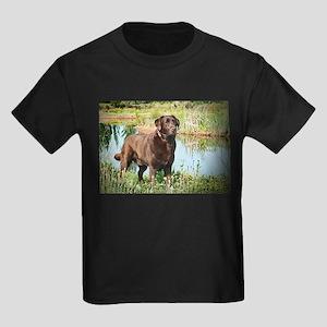 Chocolate Labrador Ready for the Hunt Kids Dark T-