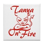 Tanya On Fire Tile Coaster