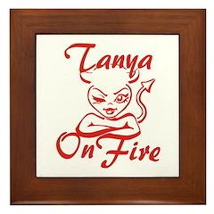 Tanya On Fire Framed Tile