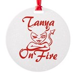Tanya On Fire Round Ornament
