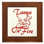 Tanya On Fire Framed Tile