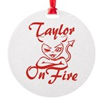 Taylor On Fire Round Ornament