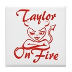 Taylor On Fire Tile Coaster