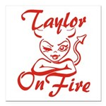Taylor On Fire Square Car Magnet 3