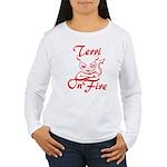 Terri On Fire Women's Long Sleeve T-Shirt