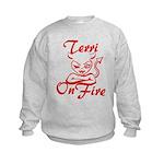 Terri On Fire Kids Sweatshirt