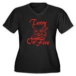 Terry On Fire Women's Plus Size V-Neck Dark T-Shir