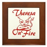 Theresa On Fire Framed Tile