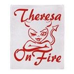 Theresa On Fire Throw Blanket