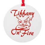 Tiffany On Fire Round Ornament