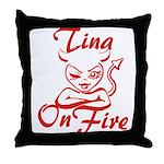 Tina On Fire Throw Pillow