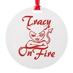 Tracy On Fire Round Ornament