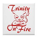 Trinity On Fire Tile Coaster