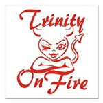 Trinity On Fire Square Car Magnet 3