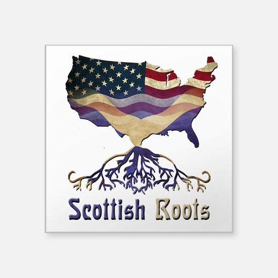 "American Scottish Roots Square Sticker 3"" x 3"