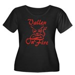 Vallen On Fire Women's Plus Size Scoop Neck Dark T