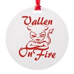 Vallen On Fire Round Ornament