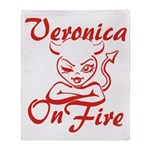 Veronica On Fire Throw Blanket