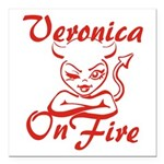 Veronica On Fire Square Car Magnet 3