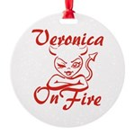 Veronica On Fire Round Ornament
