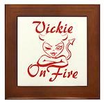 Vickie On Fire Framed Tile