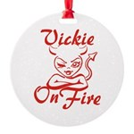 Vickie On Fire Round Ornament