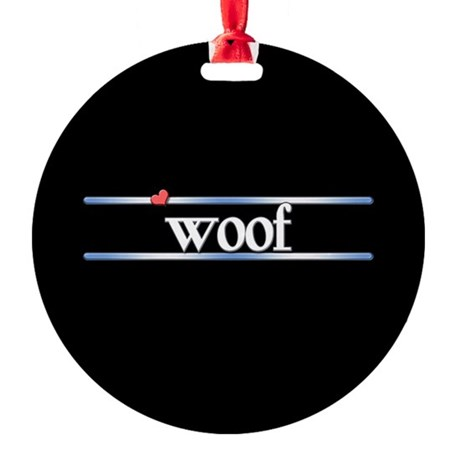 Woof Round Ornament