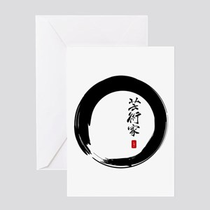 "Enso Open Circle with ""Artist"" Calligraphy Greetin"