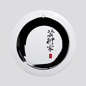 "Enso Open Circle with ""Artist"" Calligraphy Ornamen"