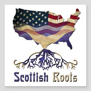 "American Scottish Roots Square Car Magnet 3"""