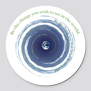 Be the Change Round Car Magnet