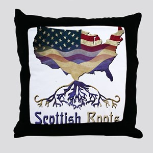 American Scottish Roots Throw Pillow